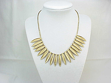 Vintage Art Deco Brushed Gold Tone Feather Look Choker Necklace