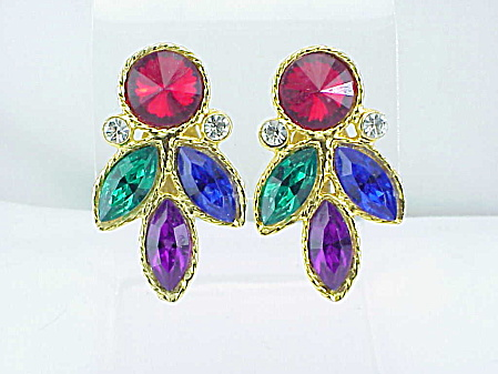 Large Red Rivoli And Green, Blue, Purple Navette Rhinestone Clip Earrings