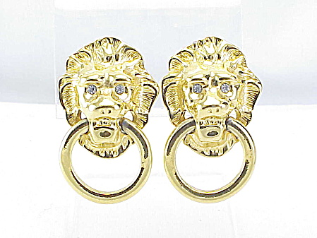 Kenneth J Lane Lion Door Knocker Clip Earrings Signed Kjl For Avon