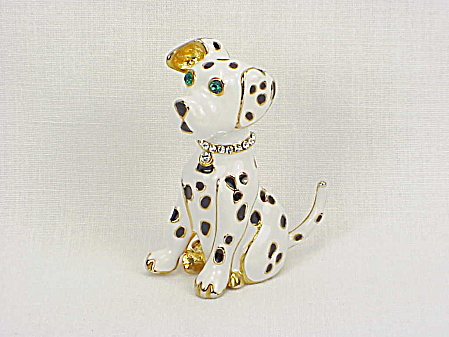 Black And White Enamel Dalmation Dog Brooch With Rhinestone Eyes And Collar