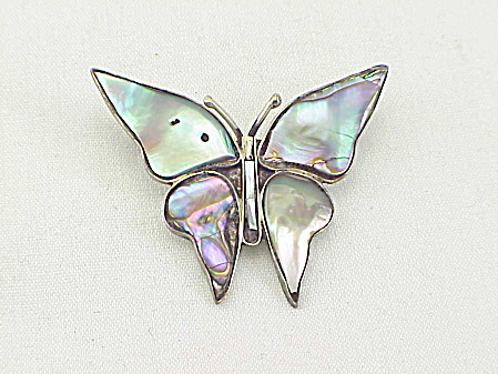 Vintage Eagle 3 Taxco Mexico Sterling Silver Abalone Butterfly Pendant
