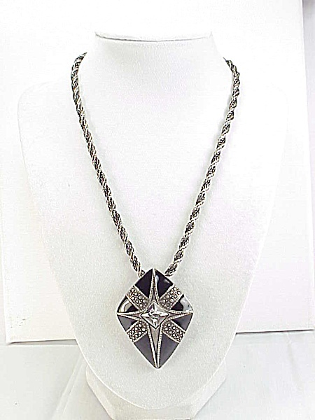 Chico's Silver Tone Necklace With Black Enamel And Rhinestone Pendant
