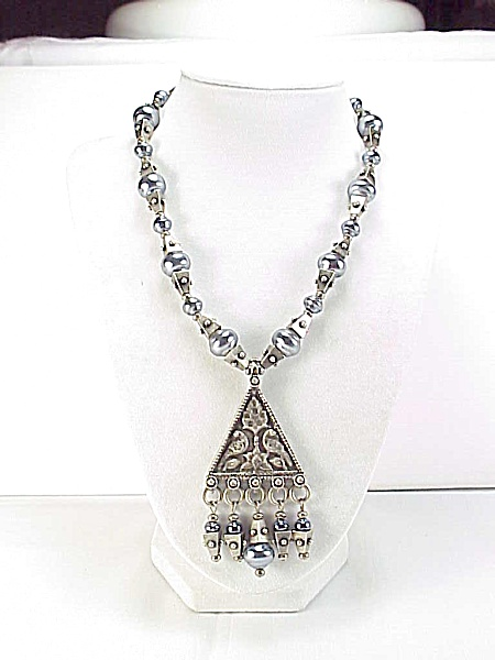 Chico's Tribal Grey Pearl Silver Bead Dangling Pendant Necklace