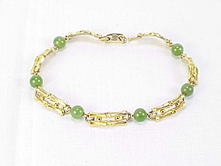 Vintage Krementz Jade Bead And Gold Tone Lucky Bamboo Link Bracelet