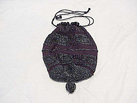 Antique Victorian Black Beaded Dark Purple Reticule Mourning Purse