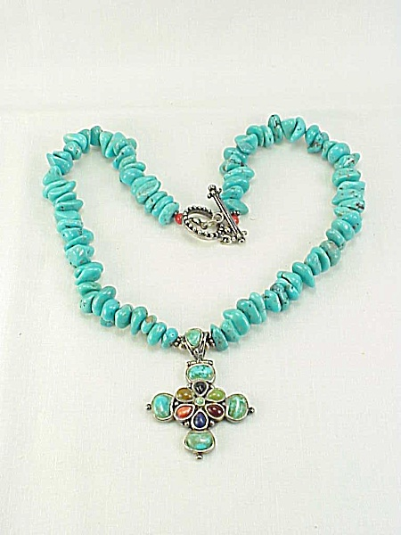 Barse Sterling Silver Cross Pendant On Turquoise Nugget Necklace
