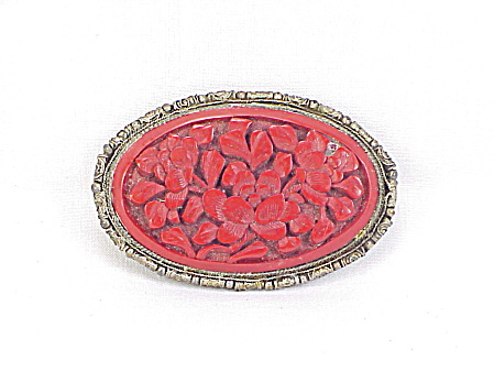 Vintage Chinese Hand Carved Lotus Flower Cinnabar Brooch Pin