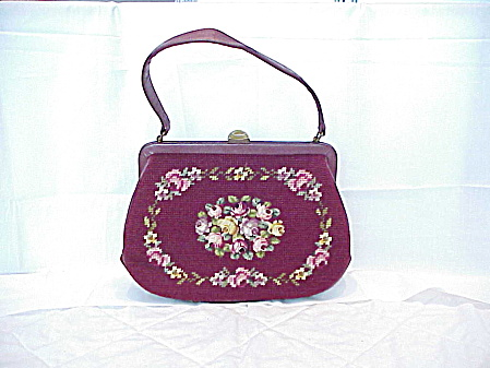 Vintage Dark Red Maroon Needlepoint Petit Point Flowers Purse Handbag