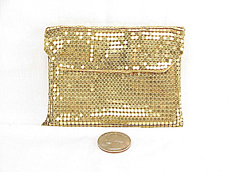 Vintage Whiting & Davis Gold Tone Mesh Fold Over Flap Change Purse