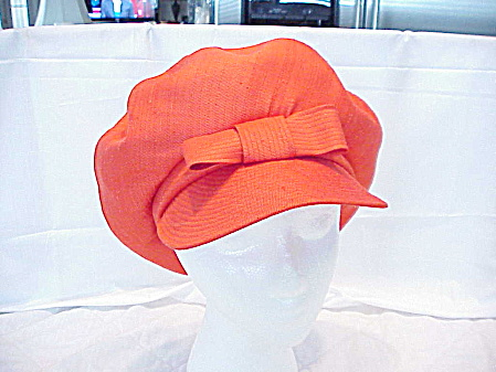 Vintage Saks Fifth Avenue Orange Newsboy 1960's Style Mod Hat
