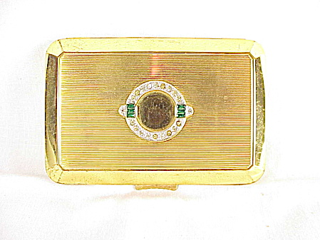 Art Deco Richard Hudnut Powder, Rouge And Lipstick Rhinestone Compact