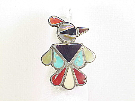Native American Zuni Sterling Silver Inlay Thunderbird Ring Signed B P