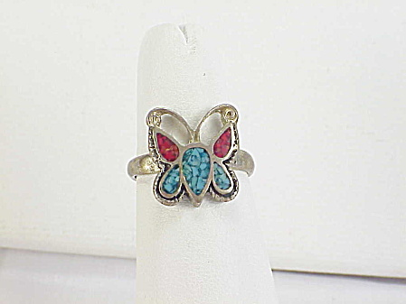 Native American Turquoise Coral Inlay Sterling Silver Butterfly Ring