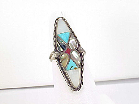 Native American Zuni Sterling Silver Inlaid Turquoise Mop Coral Ring