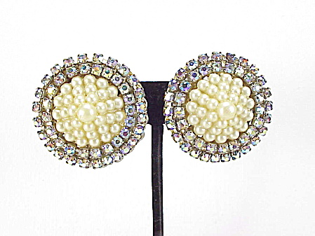 Vintage Large Pearl And Aurora Borealis Rhinestone Clip Earrings