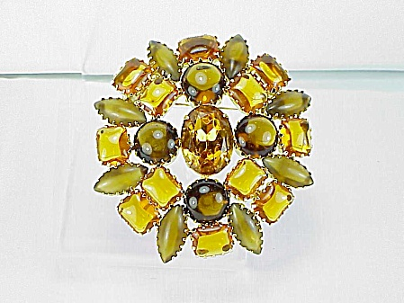 Vintage Possible Juliana Amber And Light Brown Rhinestone Brooch