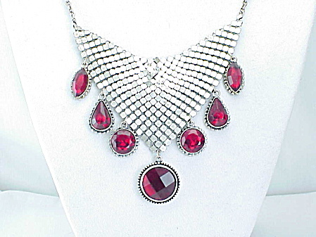 Silver Tone Mesh Bib Necklace With Dangling Red Rhinestones