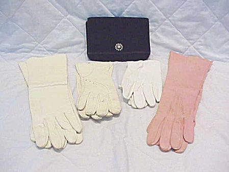 Vintage Leather Gloves & Velvet Evening Purse - Pink French Kid