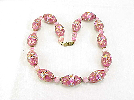Vintage Pink Roses Wedding Cake Venetian Glass Bead Necklace