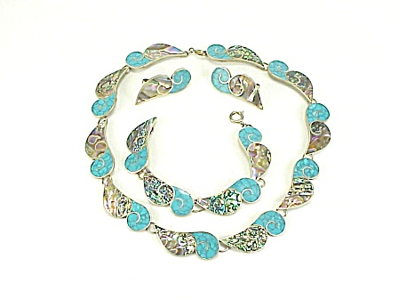 VINTAGE TAXCO MEXICO 980 SILVER TURQUOISE NECKLACE BRACELET EARRINGS  (Image1)