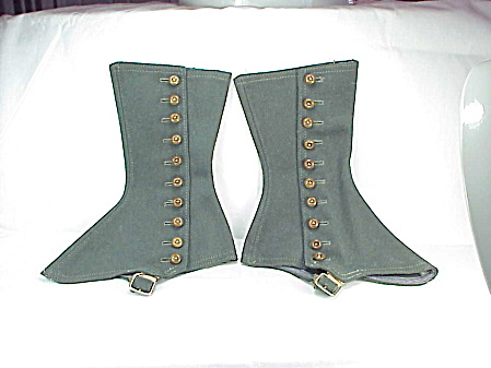 Antique Victorian Edwardian Steampunk Grey Wool Shoe Leg Spats