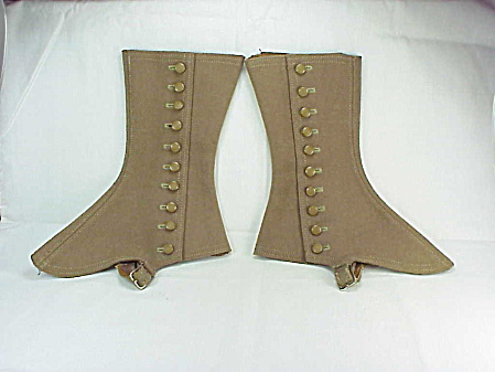 Antique Victorian Edwardian Steampunk Brown Wool Shoe Leg Spats