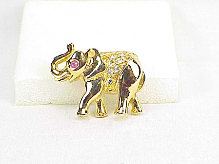 Small Gold Tone Rhinestone Lucky Trunk Up Elephant Brooch