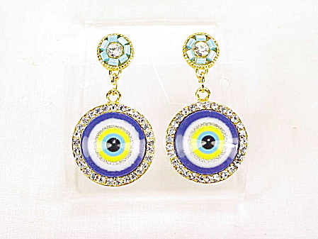 Dangling Glass Eye Or Target And Rhinestone Pierced Earrings