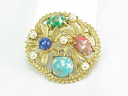 Vintage Sarah Coventry Faux Pearl And Marbled Glass Stone Brooch