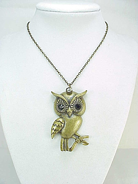 Vintage Bronze Owl With Black Rhinestone Eyes Pendant Necklace