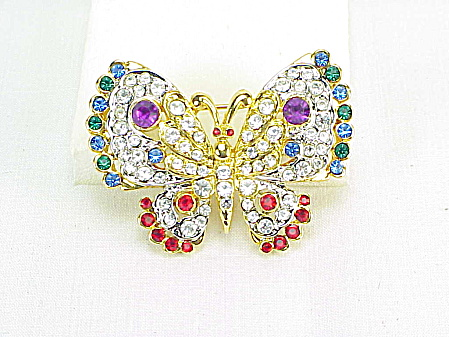 Multicolored Rhinestone Butterfly Brooch