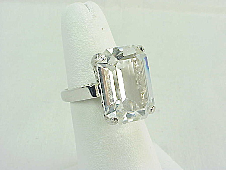 Vintage Silver Tone Ring With Large Emerald Cut Crystal Rhinestone
