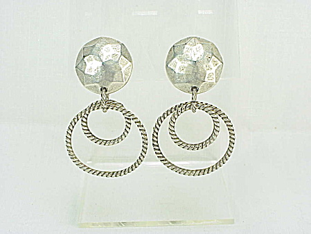 Vintage Rose Flores Hand Hammered Dangling Silver Tone Clip Earrings