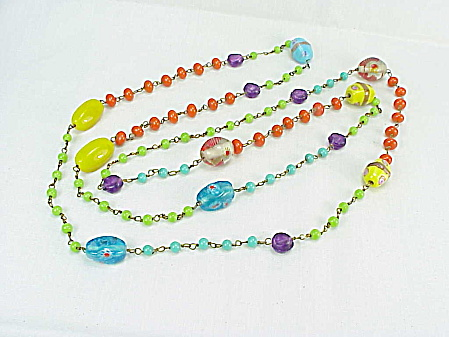 Vintage Venetian Murano Long Art Glass Multicolored Bead Necklace