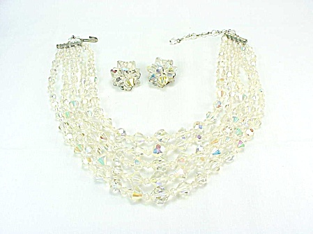 Vintage 5 Strand Aurora Borealis Crystal Bead Necklace And Earrings