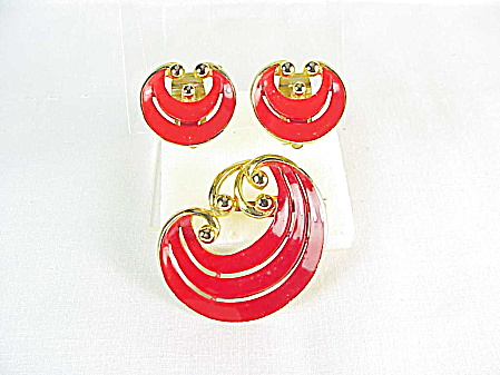Vintage Red Enamel Swirl Brooch And Matching Clip Earrings Set