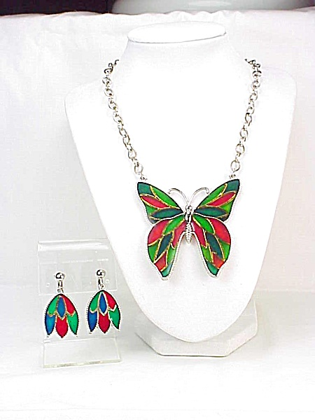 Vintage Celebrity Stained Glass Enamel Butterfly Necklace & Earrings