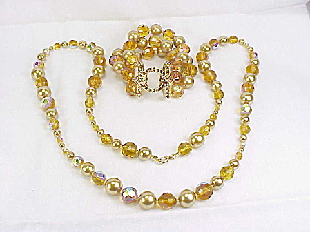 Long Amber Crystal And Faux Gold Pearl Necklace And Bracelet Set