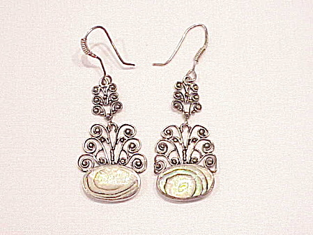 Dangling Sterling Silver Filigree And Abalone Pierced Earrings
