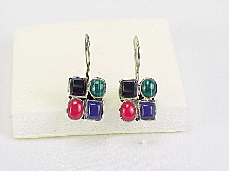 Sterling Silver Malachite, Lapis, Coral, Onyx Pierced Earrings