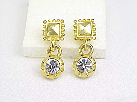 Signed C Stein Matte Gold Tone Dangling Rhinestone Pierced Earrings