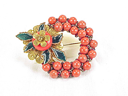 Vintage Unsigned Miriam Haskell Enamel Red Coral Glass Bead Brooch