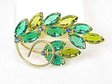 Vintage Juliana Emerald Green And Olive Green Rhinestone Brooch