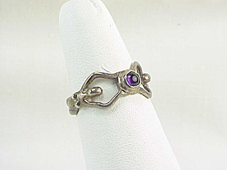 Art Nouveau Sterling Silver Two Nude Women Holding An Amethyst Ring