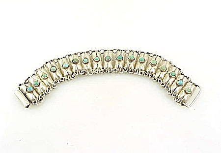 Vintage 1940's Mexican Sterling Silver & Turquoise Link Bracelet
