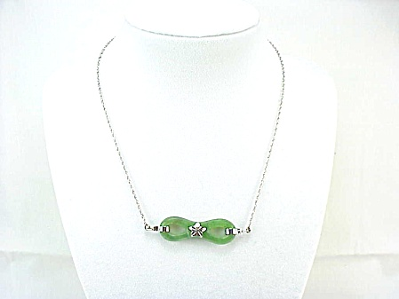 Sterling Silver And Jade Infinity Symbol Pendant Necklace