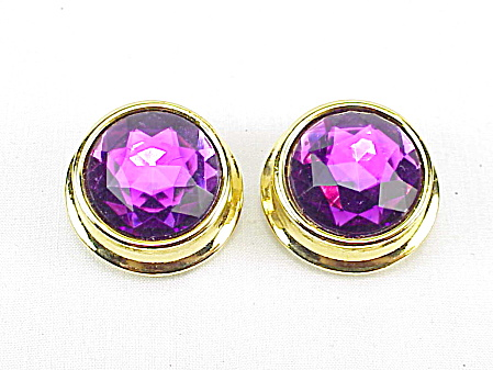 Les Bernard Large Faceted Amethyst Glass Button Gold Tone Clip Earring