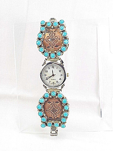 RUNNING BEAR NATIVE AMERICAN COPPER TURQUOISE STERLING SILVER WATCH TI (Image1)