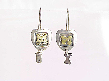 Far Fetched Sterling Silver Dog And Bone Cat And Fish Pierced Earrings