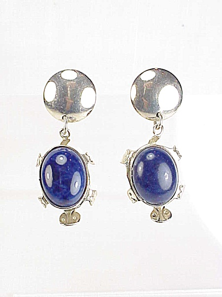Signed Taxco Mexico Sterling Silver Lapis Turtle Pierced Earrings